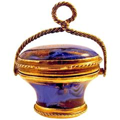 Antique Lapis Lazuli Basket Fob