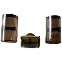 Gold Smokey Quartz Modernist Cufflinks and Tie Tac