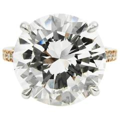 GIA Certified 7.01 Carat Round Brilliant Cut Diamond Rose Gold J. Birnbach ring