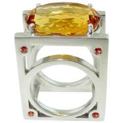 Avant Garde Citrine Sapphire Ring