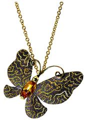 Alex Soldier Citrine Gold Butterfly Pendant Necklace Pin on Chain One of a kind