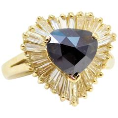 Deep Blue 2.25 Carat Sapphire Diamond Yellow Gold Ballerina Ring