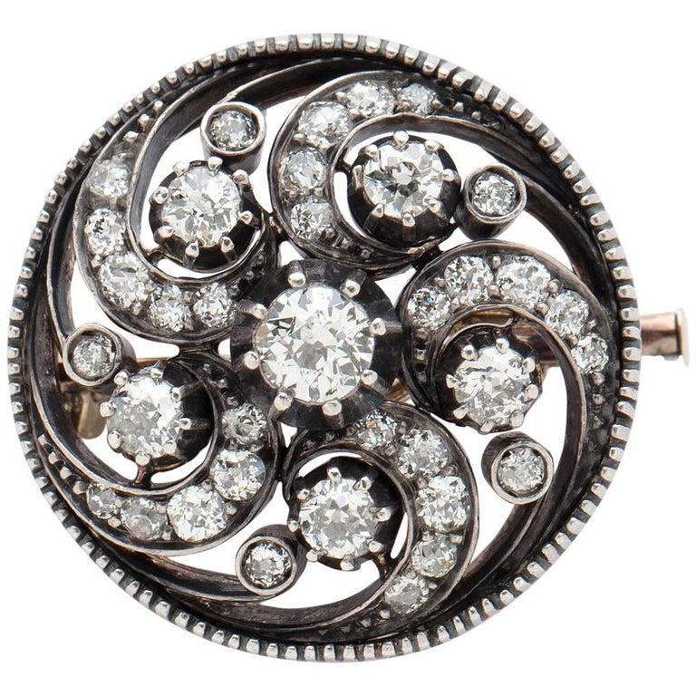 Antique Diamond Swirl Pin For Sale
