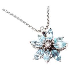 Asprey Aquamarine Diamond White Gold Petal Flower Pendant Necklace