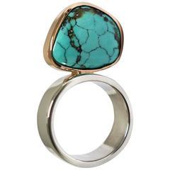 Lizunova Turquoise Silver Rose Gold Ring