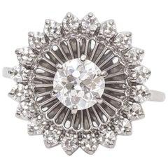 1910s Art Nouveau .70 Carat Old Mine Diamond Platinum Halo Cocktail Ring