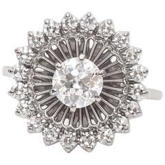 1910s Old Mine 1 Carat Diamond Platinum Halo Cocktail Ring
