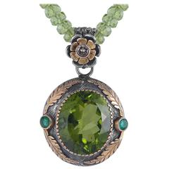 Emma Chapman Peridot Emerald Diamond Yellow Gold Pendant