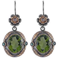 Orisha Peridot Emerald Diamond 18 Karat Gold & Silver Earrings