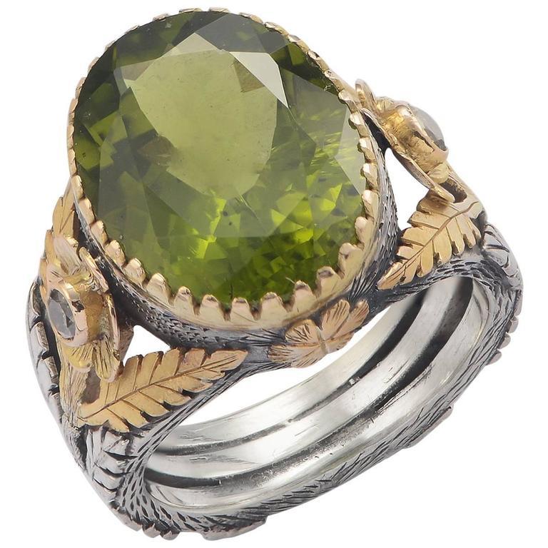 Emma Chapman Orisha Peridot Diamond 18 Karat Gold & Silver Ring