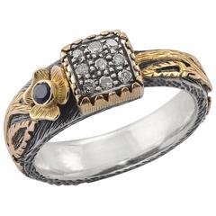 Emma Chapman Gardner 18k Gold & Silver Diamond Blue Sapphire Ring