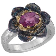 Emma Chapman Red Spinel Yellow Gold Silver Flower Ring