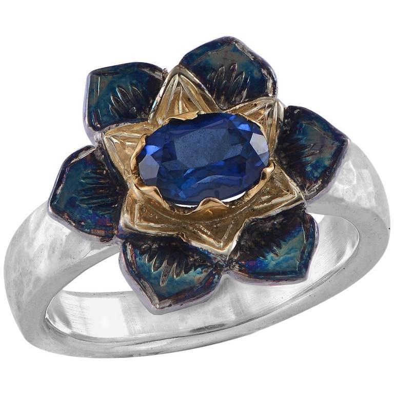 Emma Chapman Blue Sapphire Yellow Gold Silver Flower Ring