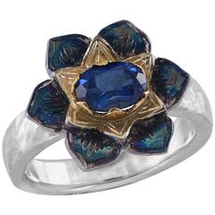 Emma Chapman Blue Sapphire Yellow Gold Silver Flower Ring