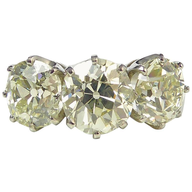 Old Cushion Cut Diamond Ring 4 14 Carat circa 1930s French Platinum Mark F