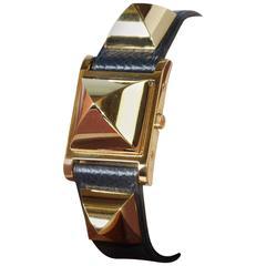 Hermes Gold-Plated Medor Quartz Wristwatch Ref ME1.201, circa 2007