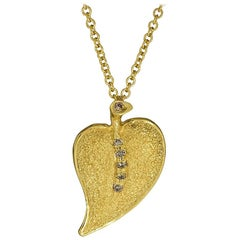 Champagne Diamonds Yellow Gold Leaf Pendant on Chain Limited Edition