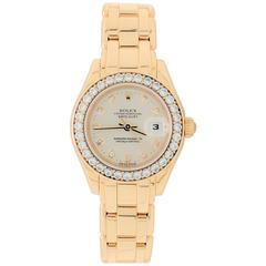 Rolex Ladies Yellow Gold Diamond Masterpiece Pearlmaster Automatic Wristwatch