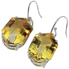 Brazilian Bi-Color Citrine Clear Quartz Fancy Cut Sterling Silver Earrings