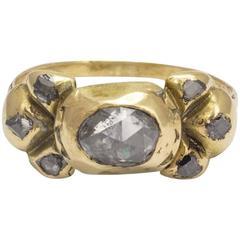 17th Century Portuguese Diamond Gold Bow Ring