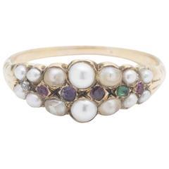 Georgian Regard Acrostic Ring with Seed Pearls
