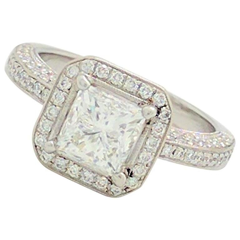 Simon G White Gold Princess Cut Diamond Engagement Ring For Sale