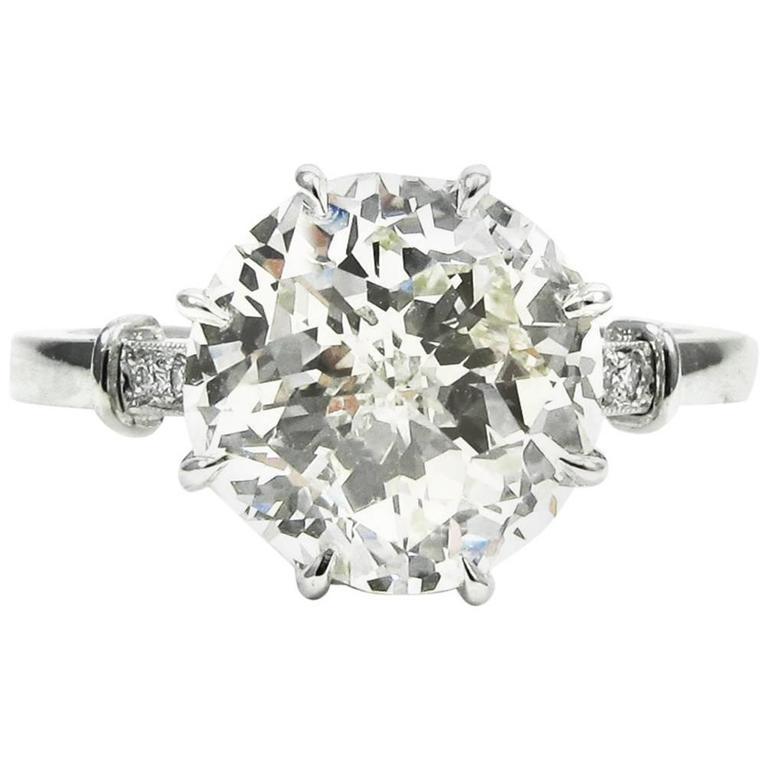 GIA Certified 3.04 Carat Jubilee Cut Diamond Platinum Engagement Ring 1