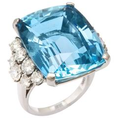 28.35 Carat Aquamarine Diamond Platinum Ring