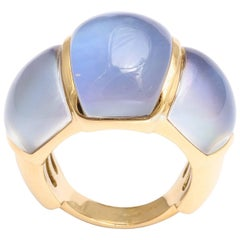 Lapis and Rock Crystal Gold Ring