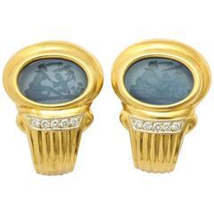 Blue Agate Diamond Yellow Gold Earrings