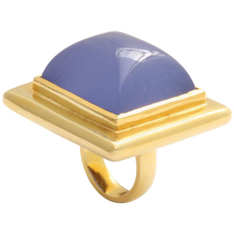 Chalcedony Gold Pillow Ring