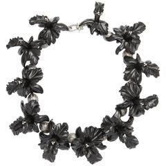Onyx Diamond Silver Orchid Necklace