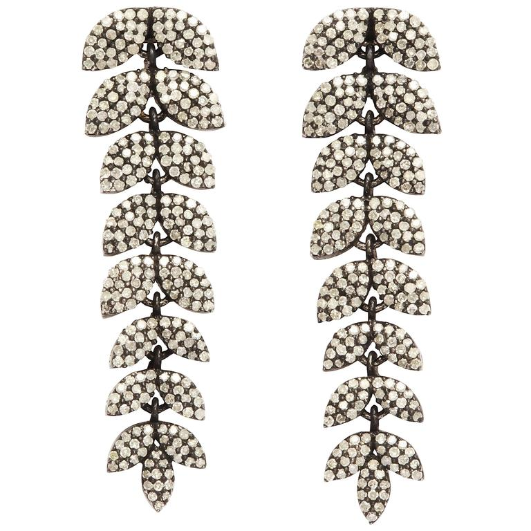 Diamond Silver Leaf Earrings 1
