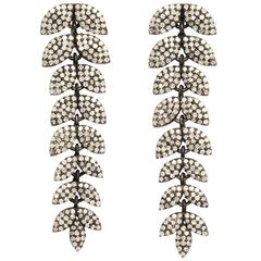 Diamond Silver Leaf Earrings