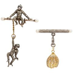 Diamond Cheeky Monkey and Banana Earrings