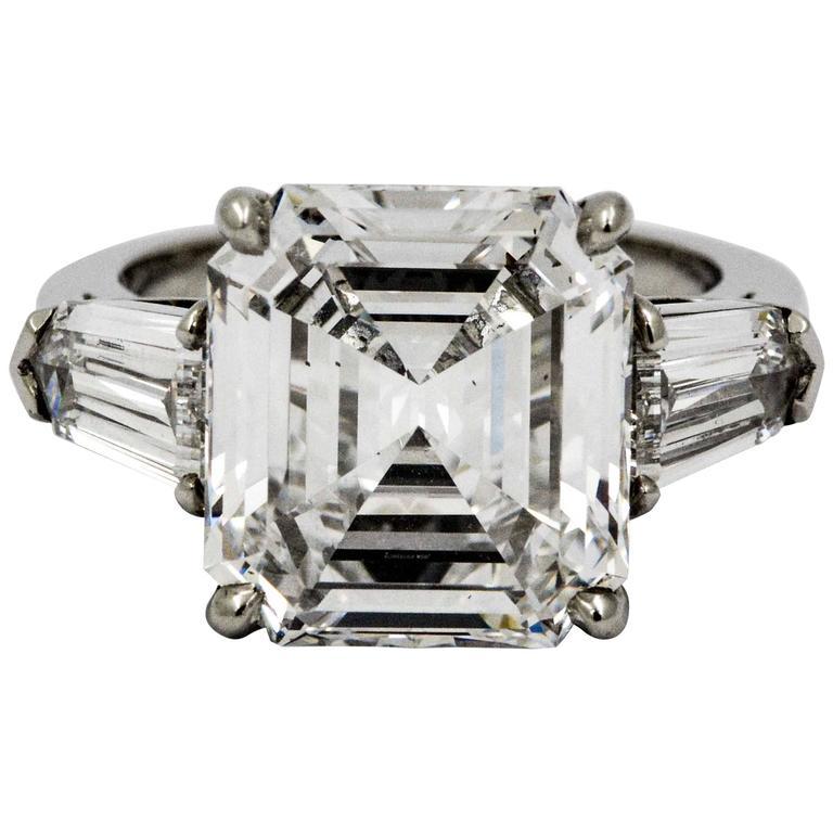 8.02 Carat Emerald Cut Diamond Platinum Engagement Ring