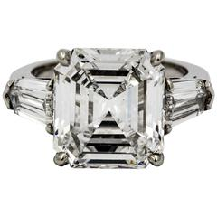 8.02 Carat Emerald Cut Diamond Platinum Engagement Ring