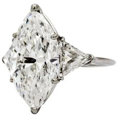 7.04 ct Marquise Diamond and Platinum Engagement Ring
