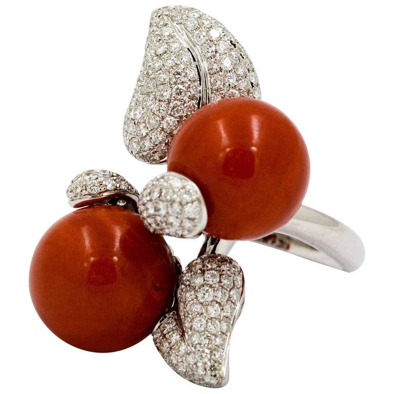 DeSimone Torro Del Coral Diamond White Gold Ring   For Sale