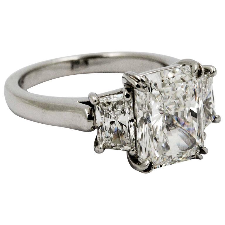 4.05 Carat Radiant Cut Diamond Platinum Engagement Ring
