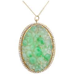 19th Century Victorian Carved Jadeite Jade Pearl Pendant Brooch