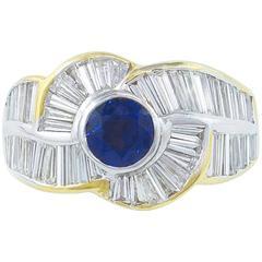 Striking 7.92 Carat Diamond Sapphire Ring