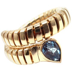 Bulgari Tubogas Blue Topaz Yellow Gold Snake Band Ring
