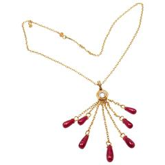 Gurhan One of a Kind Ruby Drop Yellow Gold Necklace