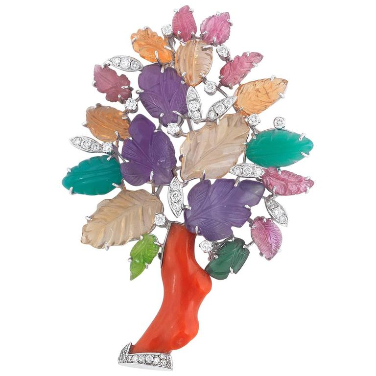 Gem Set Coral Diamond Gold Tree Brooch