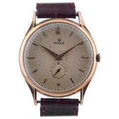 Rolex Rose Gold Antimagnetic Oversize Manual Wind Wristwatch, circa 1950