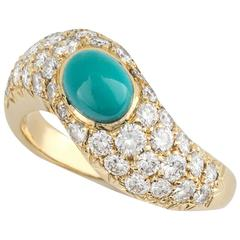 Boucheron Yellow Gold Turquoise Diamond Dress Ring