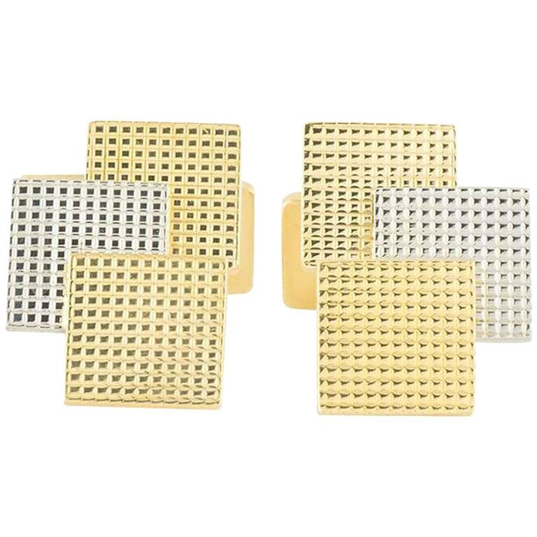 Piaget Square Cufflinks Yellow and White Gold