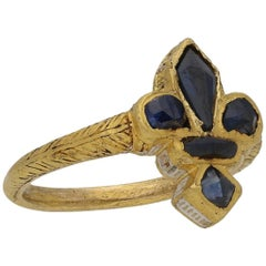 Post Medieval Sapphire Gold Fleur-de-Lis Ring, circa 16th Century