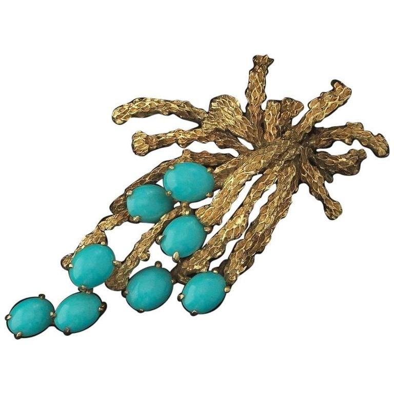 Beautiful 1960s Textured Turquoise Cabochon Gold Spray Pendant for Necklace